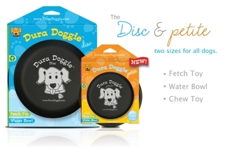 Dura Doggie & Petite Discs: Incredibly durable fetch toy, chew toy & water bowl