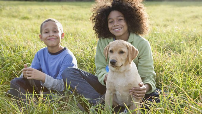 kids with dog in field