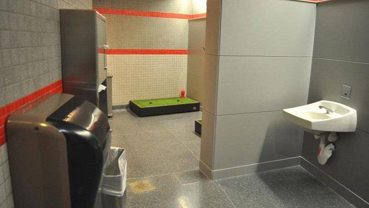 A bathroom with a few patches of fake grass and a tiny fire hydrant.