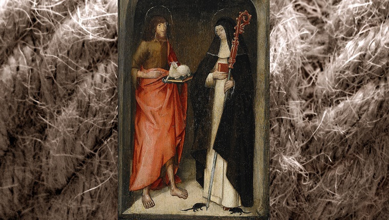 A painting of Saint Gertrude blessing a lamb with mice at her feet.