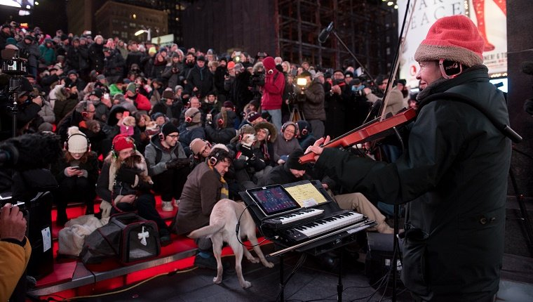 Laurie Anderson plays the violin outdoors in front of a crowd of humans and dogs.