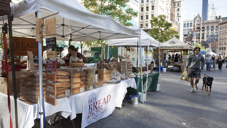 Farmers market at Union Square, Manhattan, New York City, USA