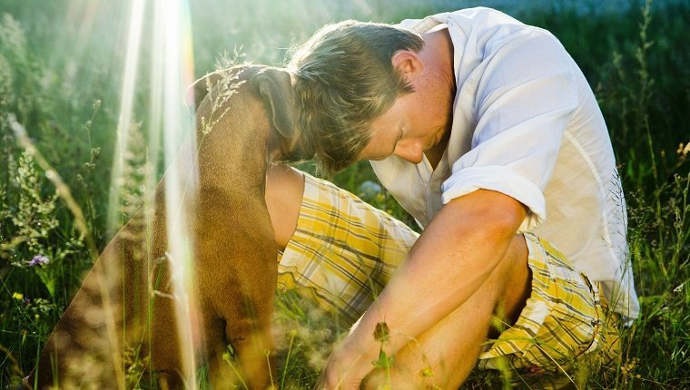 Dog consoling his owner in the countryside near Munich.