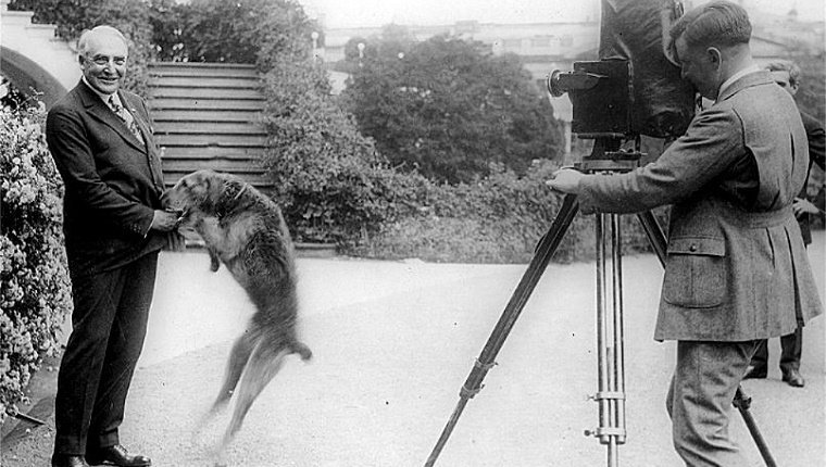 Laddie Boy jumps into press photo with Warren Harding