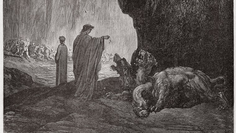 The Divine Comedy (La Divina Commedia, La Divine Comedie), Inferno, Canto 6 : Virgil feeds Cerberus in the third circle - by Dante Alighieri (1265-1321) - Engraving by Gustave Dore (1832-1883), 1885 (Photo by Stefano Bianchetti/Corbis via Getty Images)