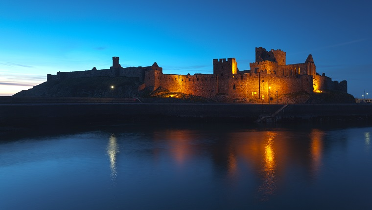 Peel Castle at night, Isle of Man