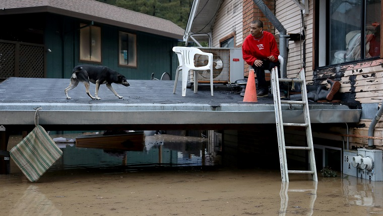GUERNEVILLE, CALIFORNIA. - FEB. 27: A man and a dog wait on carport of a home in Guerneville, California, for a boat ride evacautation after the Russian River flooded the town, Tuesday, Feb. 26, 2019.