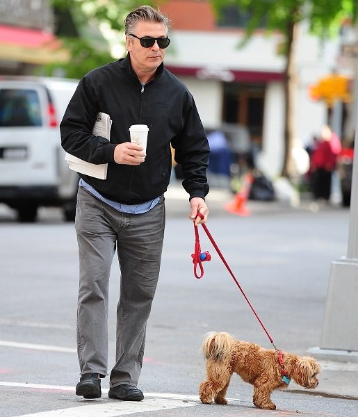 Alec Baldwin Out For A Walk With His Dog